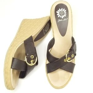 YELLOW BOX brown leather wedges size:8.5